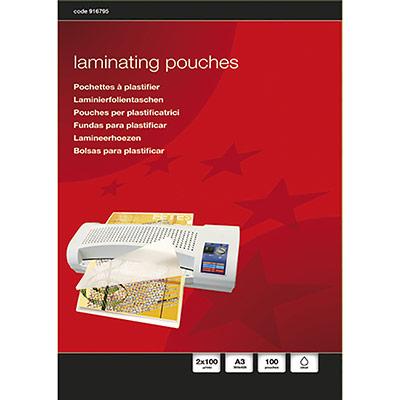 Boîte de 100 pochettes à plastifier 5 Etoiles - format A3 - 100 microns par face (photo)