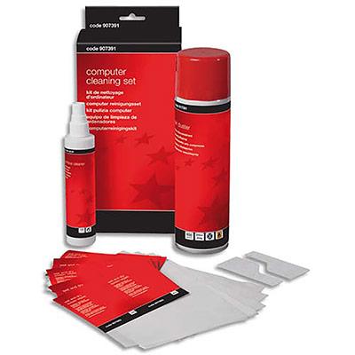 Kit de nettoyage informatique 5 Etoiles : gaz dépoussiérant + 1 nettoyant multi-usage + 10 chiffons humides secs pour écran + 10 chiffons secs (photo)