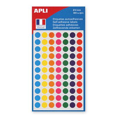 Pastilles adhésives de couleur, Ø 8 mm - Pochette de 385, coloris assortis (blister 385 unités)