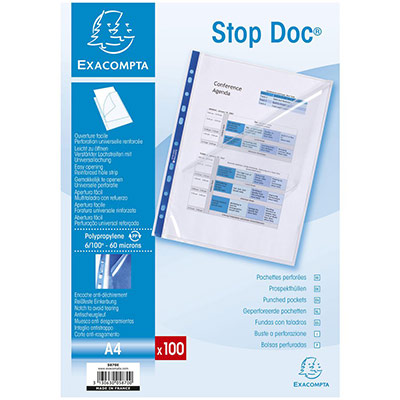 Pochettes perforées STOP DOC Exacompta - polypropylène 6/100ème - aspect lisse - A4 - boîte de 100