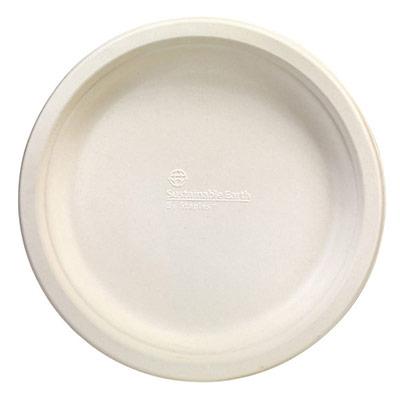 Assiette en papier ronde jetable et biodégradable - fibre de canne à sucre - 23 cm - ivoire - paquet 50 unités (photo)