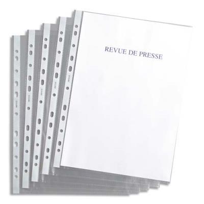 Pochettes perforées 1er prix - polypropylène 4,5/100e grainé - perforation 11 trous - sachet de 100 (photo)