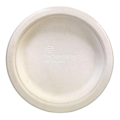 Assiette en papier ronde jetable et biodégradable - fibre de canne à sucre - 15,5 cm - ivoire - paquet 50 unités (photo)