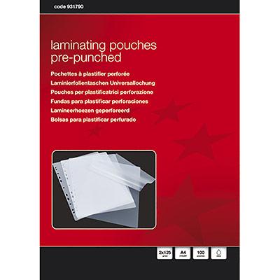 Pochettes à plastifier 1er prix - A4 - pré-perforées - boîte de 100