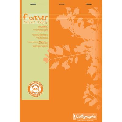 Bloc-notes FOREVER - A4 - agrafé en-tête - 200 pages - 5x5 - papier 70 g recyclé - 21 x 29,7 cm  (bloc 50 feuilles)