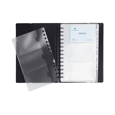 Porte-cartes de visite Exactive® Exacard, 20pochettes amovibles, 200x145mm, noir
