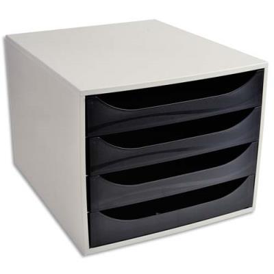 Module de classement 1er prix - polystyrène - 4 tiroirs - gris / noir