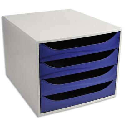 Module de classement 1er prix - polystyrène - 4 tiroirs - bleu