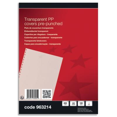 Plat de couverture 1er prix - A4 - transparent - pré-perforé - boîte de 100