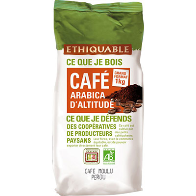 Café arabica d'altitude du Pérou moulu Bio Etiquable - paquet de 1Kg