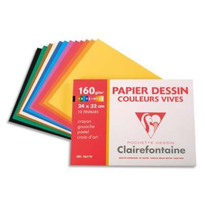 Pochette de 12 feuilles papier dessin couleur Clairefontaine - teintes vives - 160g - 24x32cm (photo)