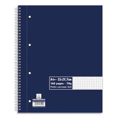 Cahier 1er prix - reliure spirales - 160 pages - 70g - petits carreaux - A4+ - feuilles détachables perforées - couverture carte (photo)