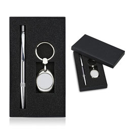 Set stylo à bille PHOENIX et porte-clefs jeton HYPER (photo)