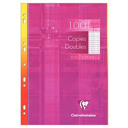 Copies doubles perforées Clairefontaine - A4 - 5x5 - blanc - sachet de 100 (photo)