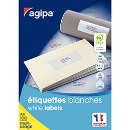 Étiquettes adhésives blanches multi-usages, 105 X 42 mm - 1400 étiquettes par boîte, 14 étiquettes par feuille (paquet 1400 unités) (photo)