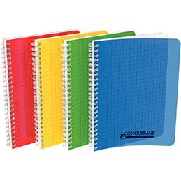 Cahier à reliure intégrale Conquerant - couverture polypropylène - 17x22cm - 100 pages - seyes - coloris assortis (photo)