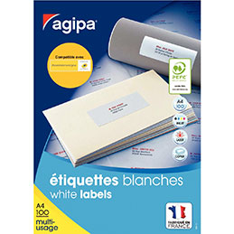 Étiquettes adhésives blanches multi-usages, 38  x 21,2 mm -  6500 étiquettes par boîte, 65 étiquettes par feuille (boîte 6500 unités) (photo)