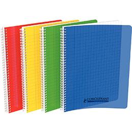Cahier à reliure intégrale Conquerant - couverture polypropylène - A4 - 100 pages - seyes - coloris assortis (photo)