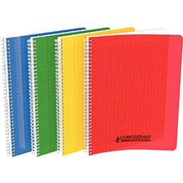 Cahier à reliure intégrale Conquerant - couverture polypropylène - A4 - 180 pages - seyes - coloris assortis (photo)