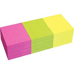 Blocs de notes repositionnables - 40 x 50 mm - 80 feuilles - couleurs vives assorties - lot de 12 (photo)