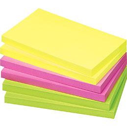 Blocs de notes repositionnables - 75 x  125mm - 80 feuilles - couleurs vives assorties - lot de 12 (photo)