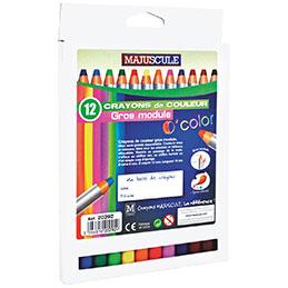 Crayons de couleurs - gros module 8mm - boîte de 12 (photo)