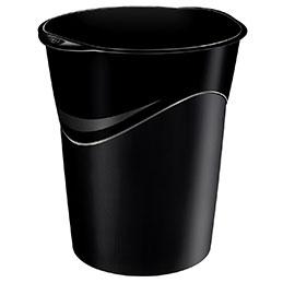 Corbeille à papier ovale recyclable CEP -  14 litres - noir (photo)