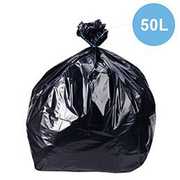 Sacs poubelles - noir - 50 litres - déchets standards - rouleau de 20 (photo)