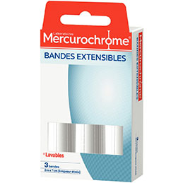 Bandes extensibles Mercurochrome - 2mx7cm - lot de 3 (photo)
