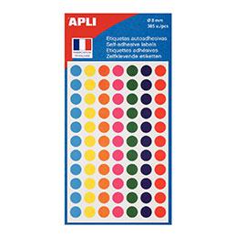 Disques adhésifs Agipa - diamètre 8 mm - coloris assortis - étui de 385 (photo)