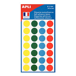 Disques adhésifs Agipa - diamètre 15 mm - coloris assortis - étui de 140 (photo)