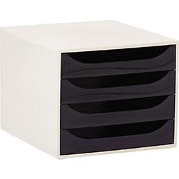 Module 4 tiroirs Ecobox Exacompta - gris et noir (photo)