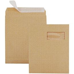 Pochettes kraft armé brun à 3 soufflets avec bande de protection La Couronne - 229x324 - fenêtre 50x100 - 130 g - boîte de 250 (photo)