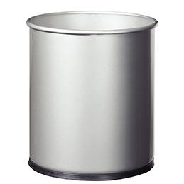 Corbeille à papier métal Rossignol- 15 litres - gris (photo)