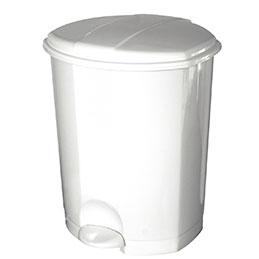 Poubelle pédale plastique - blanc - 30 litres (photo)