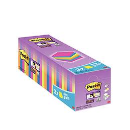 Blocs de 90 feuilles 3M Post-it Super Sticky néon - 76 x 76 mm - boîte de 24 dont 3 gratuits (photo)