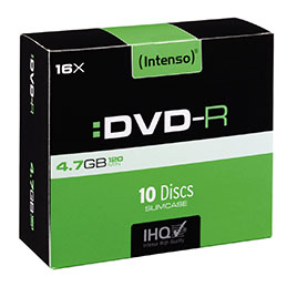 DVD-R vierge Intenso - 4,7 Go - boitier slim 10 - vitesse 16x - paquet de 10 (photo)