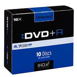 DVD+R vierge Intenso - 4,7 Go - boîtier slim 10 - vitesse 16x - paquet de 10 (photo)