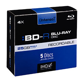 BD-R Blue-Ray Recordable Intenso - 25 GO - boîtier cristal 05 - vitesse 4x - paquet de 5 (photo)
