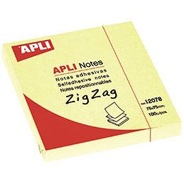 Bloc de 100 feuilles de notes adhésives en zig zag Apli - 75 x 75 mm (photo)