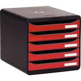 Caisson individuel 5 tiroirs Exacompta - noir/framboise glossy (photo)