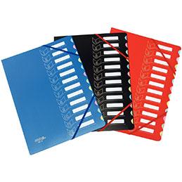 Trieur 12 cases avec élastiques Extendos - polypropylène - bleu (photo)