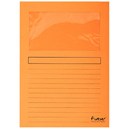 Pochettes coins Exacompta Forever - papier 120 g - format 22x31 cm avec fenêtre cristal 18x10 cm - orange - paquet de 100