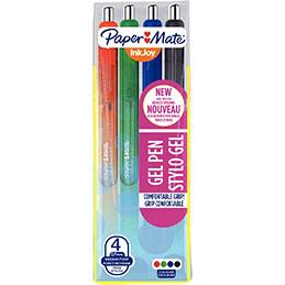 InkJoy® stylo à encre gel rétractable, pointe moyenne de 0,7mm, corps translucide dans des coloris assortis, avec zone de préhension, couleurs d'encre assorties: Noir, bleu, rouge et vert<BR> (paquet 4 unités) (photo)