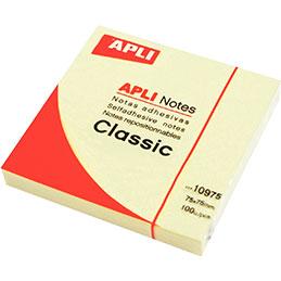 Bloc de 100 feuilles notes adhésif repositionnable Apli - 75 x 75 mm - jaune (photo)