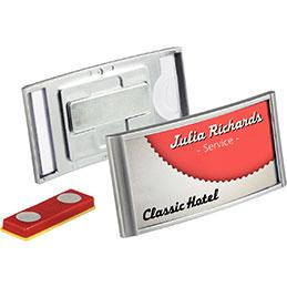 Porte-badge Premium Classic - 34x74mm - fixation aimant - boîte de 10 (photo)