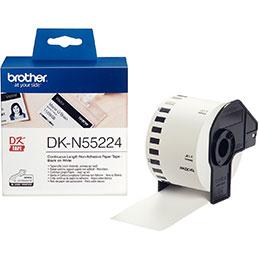 Ruban papier continu non adhésif Brother - noir et blanc - 54 mm x 30 mm (photo)