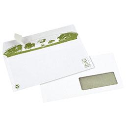 Enveloppes 110x220 GPV - fenêtre 35x100 - blanches recyclées - bande de protection - 80 g - boîte de 500 (photo)