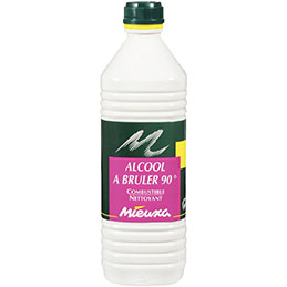 Flacon d'alcool à brûler 90° - 1L (photo)