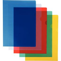 Pochettes coin - polypropylène 12/100ème - A4 - coloris assortis - lot de 10